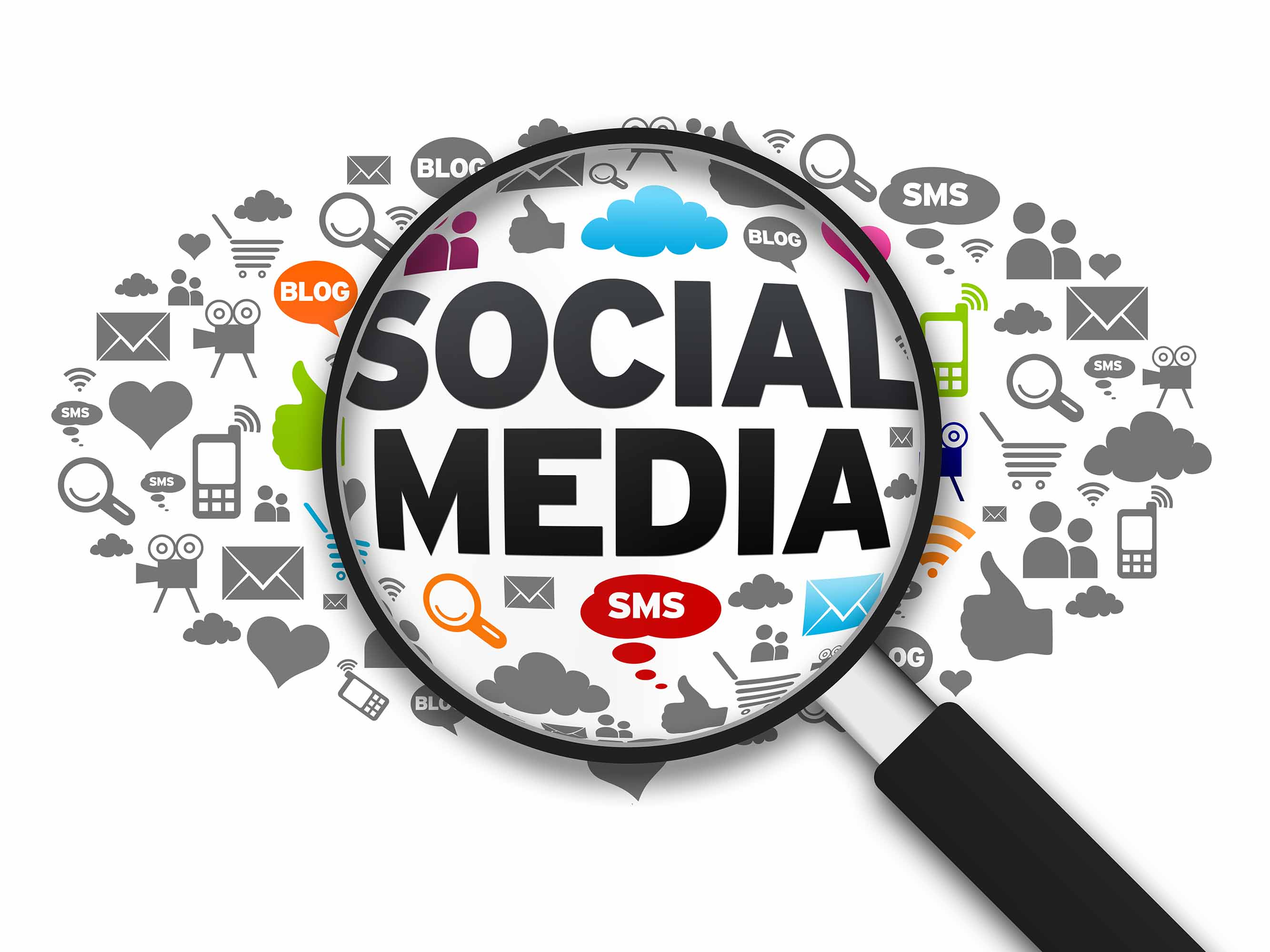 Magnified illustration with the word Social Media on white background.