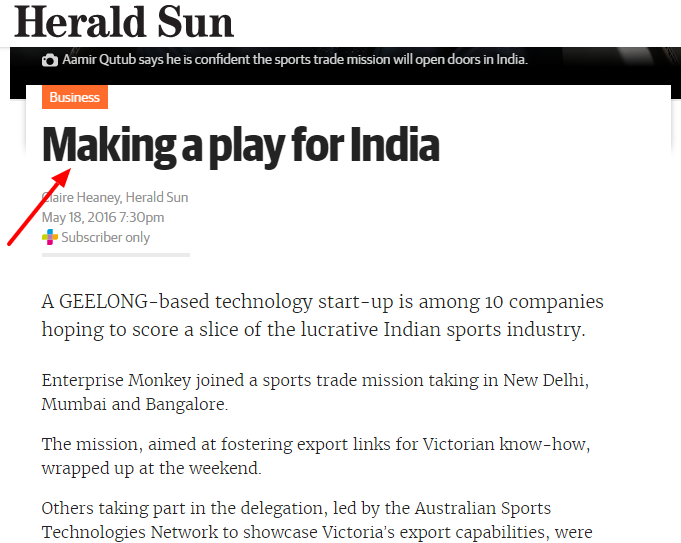 making a play for India herald sun