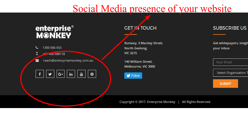 Social Media Presence of your Website