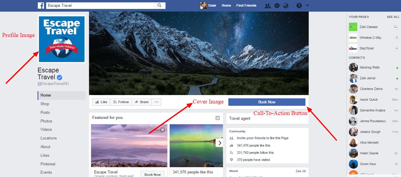 Escape Travel Facebook