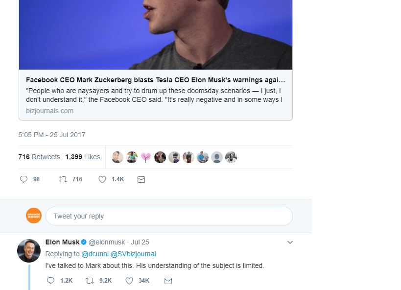 Elon Musk's Tweet for Zuckerberg