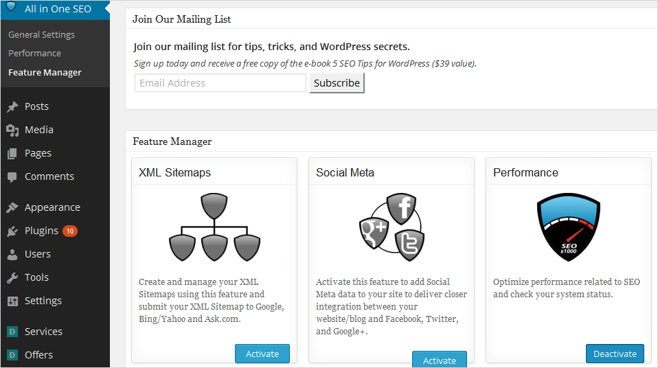 Features Manager Page