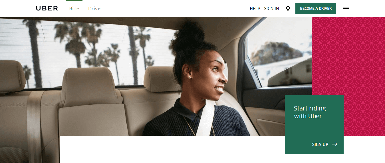 Uber Website Design