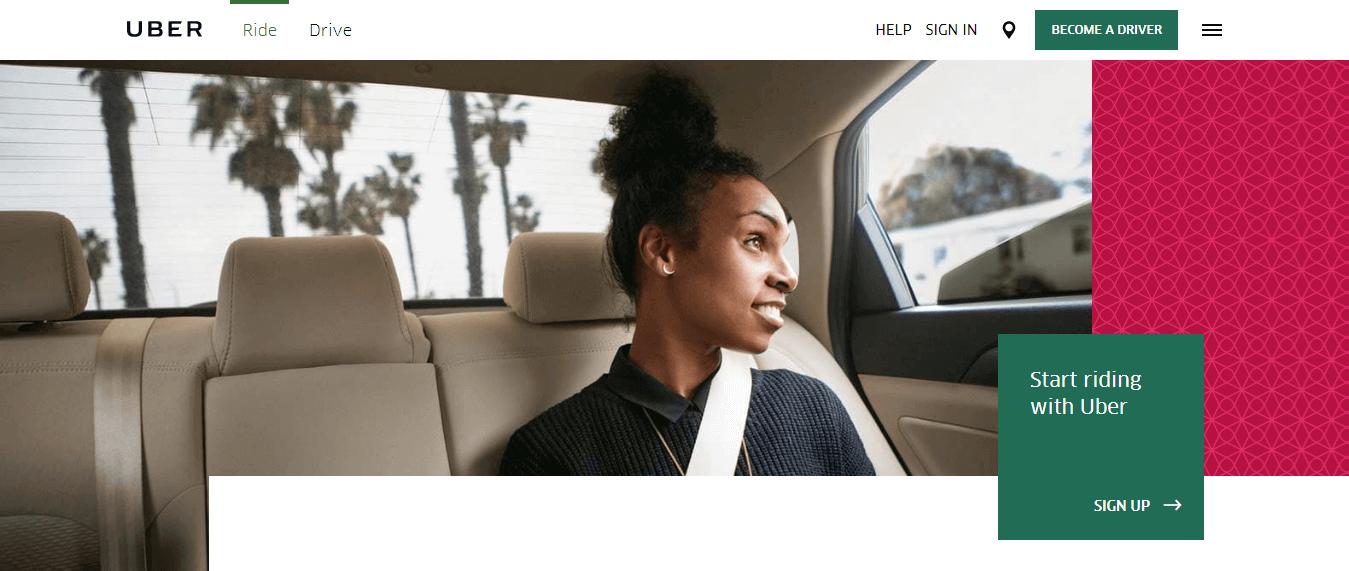 Uber Website Design
