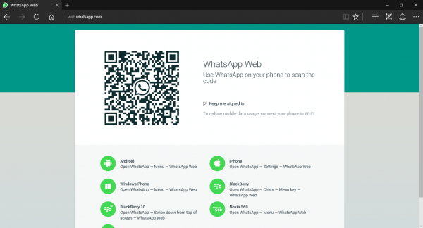 Snapshot of WhatsApp Web