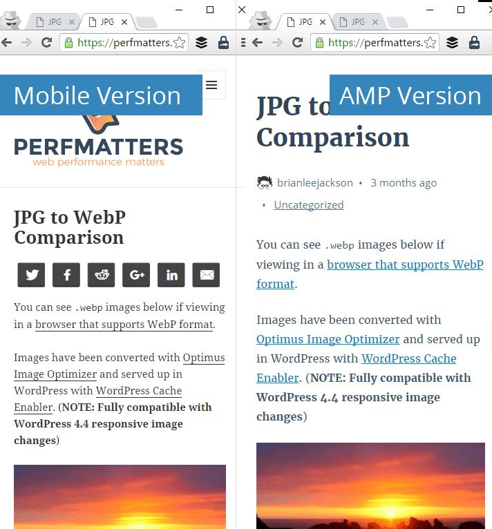 Mobile version vs AMP version