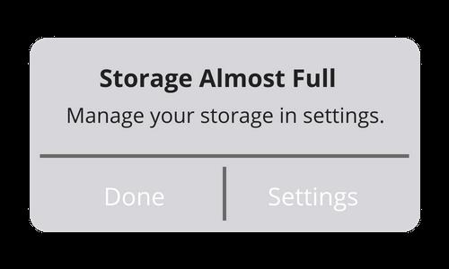 storage full popup