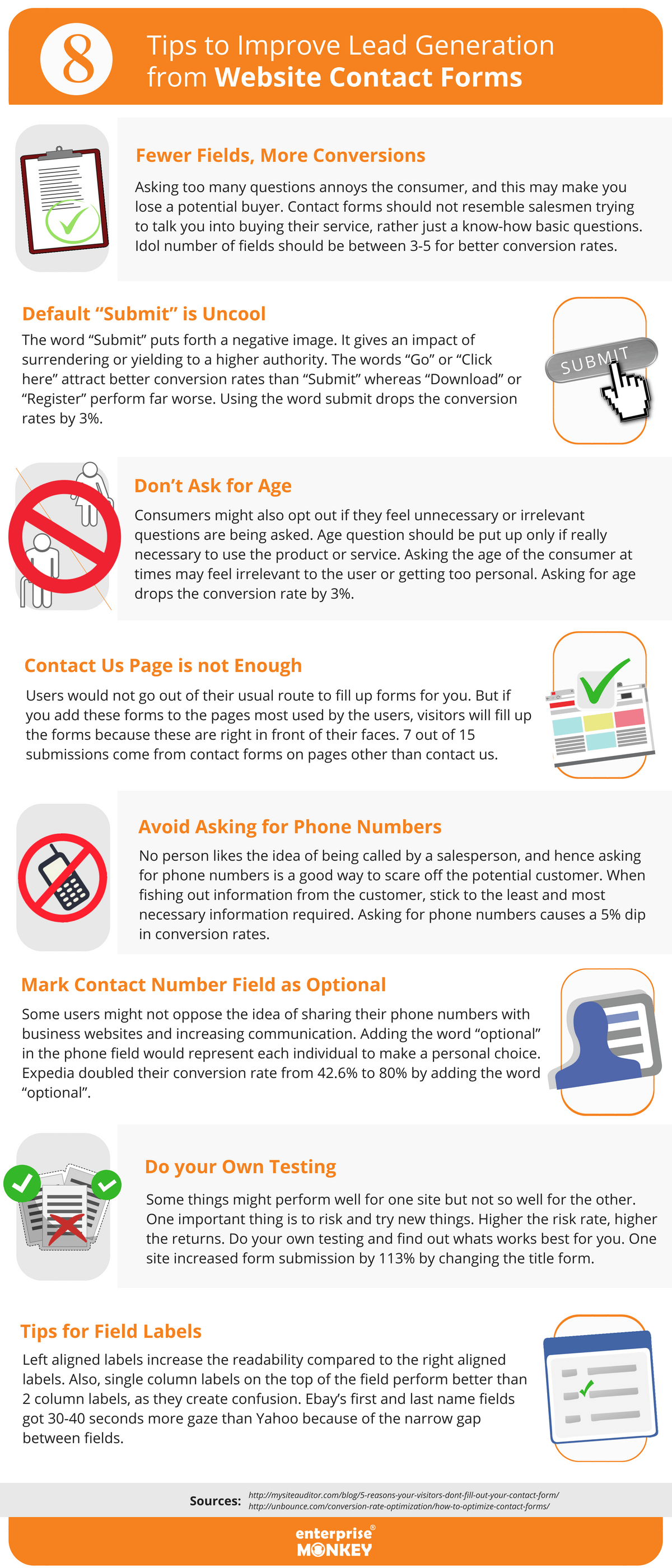8 tips to improve lead generation from website contact forms [infographic]