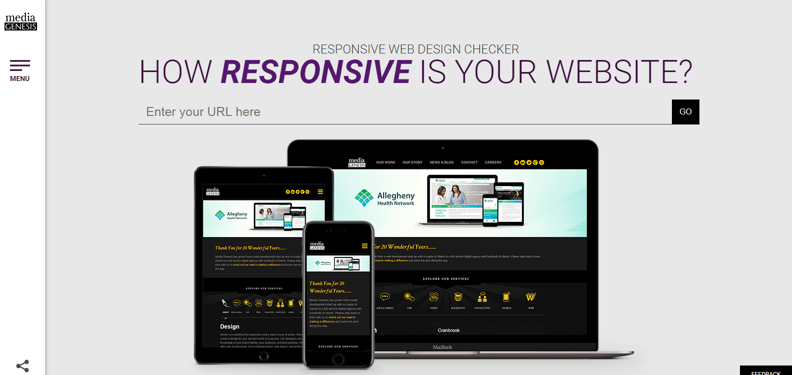 Responsive website checker