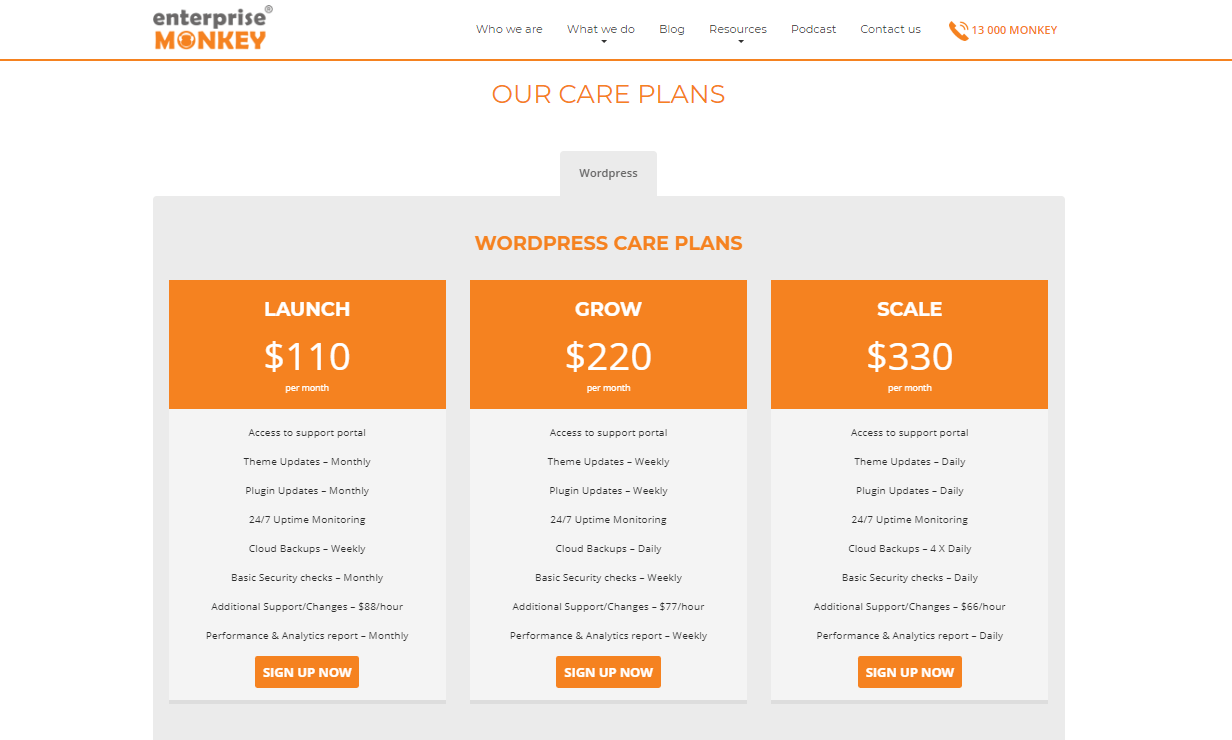 Website care plan Enterprise Monkey